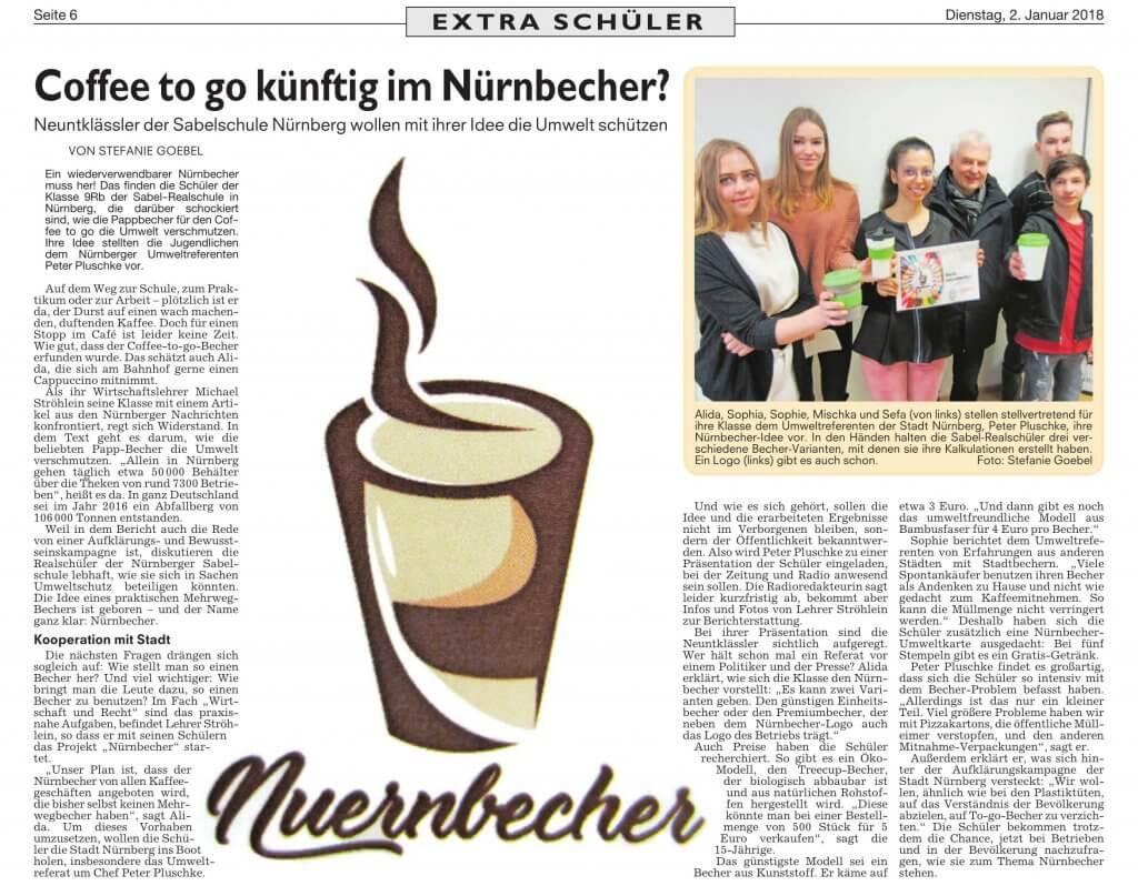 """Zeitungausschnitt berichtet über das Projekt der SABEL Realschule Nürnberg, den """"NürnBecher"""""""