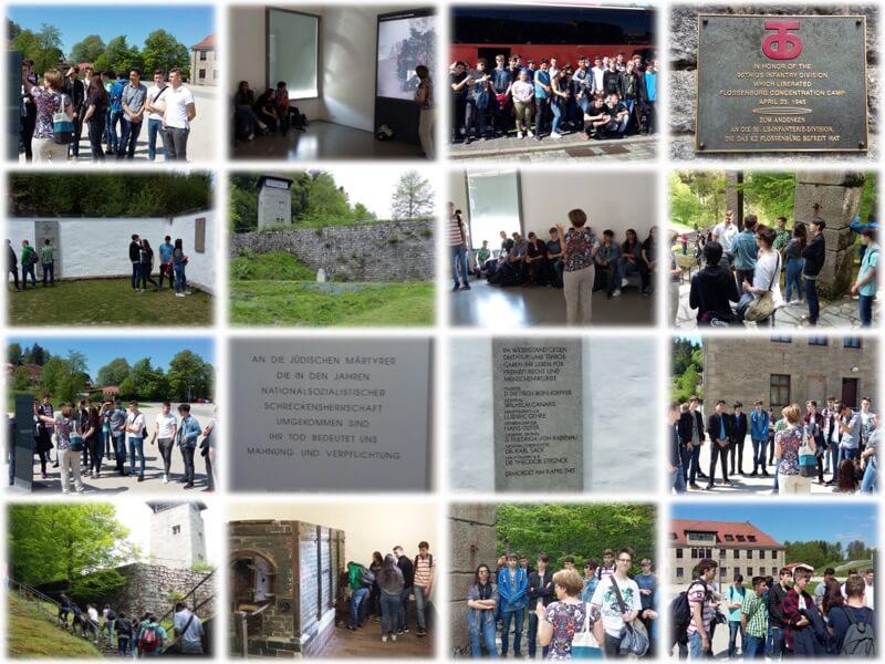 Collage zur Exkursion der SABEL Realschule Nürnberg in die KZ Gedenkstätte Flossenbürg