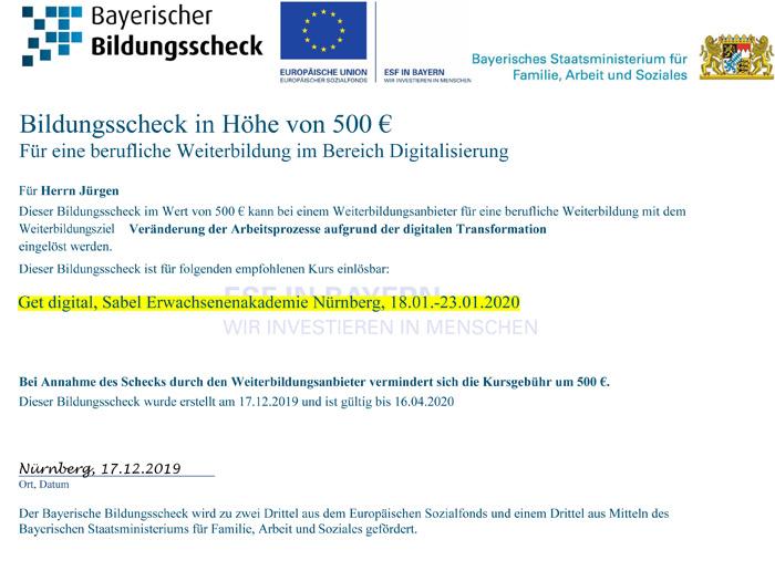 Der Bayerische Bildungsscheck für Weiterbildung auch an der SABEL Akademie